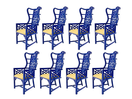 #3224 Pair Chinoiserie Blue Lacquered Chairs (4 sets available)