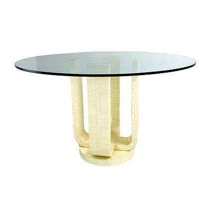 #4918 Enrique Garcel Bone Pedestal Dining Table with Glass