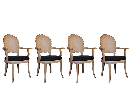 #1296 Set of 4 Venetian Grotto Shell Back Chairs