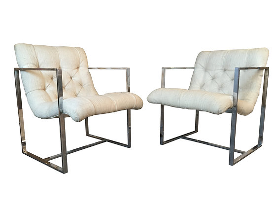 #2030 Pair Cream & Chrome Cube Chairs by Milo