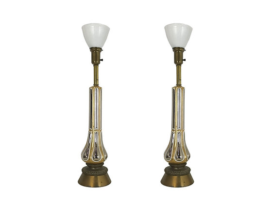 #3278 Pair of Gold & Silver Glazed Lamps