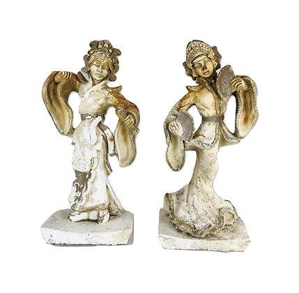 #5069 Pair of Mid-Century Vintage Bali Siam Dancer Statues