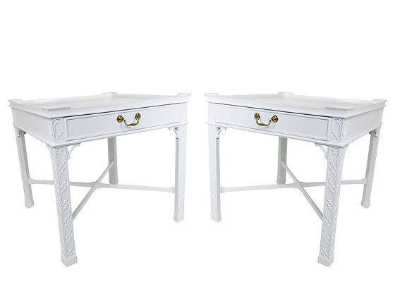 #2175 Pair Baker Chippendale Lacquered Side Tables