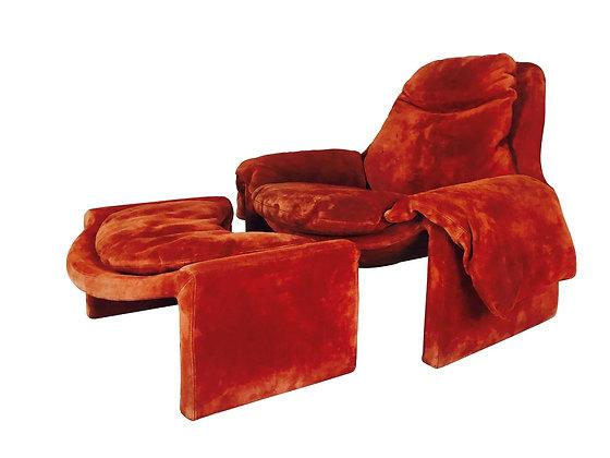 #805 Orange Suede Lounge Chair & Ottoman by Saporiti