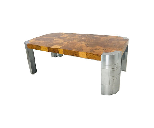 #4915 Paul Evans Burl Wood/Stainless Steel Cityscape Dining Table