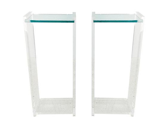 #1941 Pair Lucite & Glass Pedestals