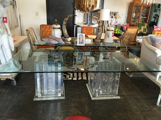 Lucite Table Base with Beveled Glass Top