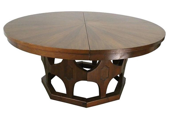 #1461 1960s Round Expandable Walnut Dining Table