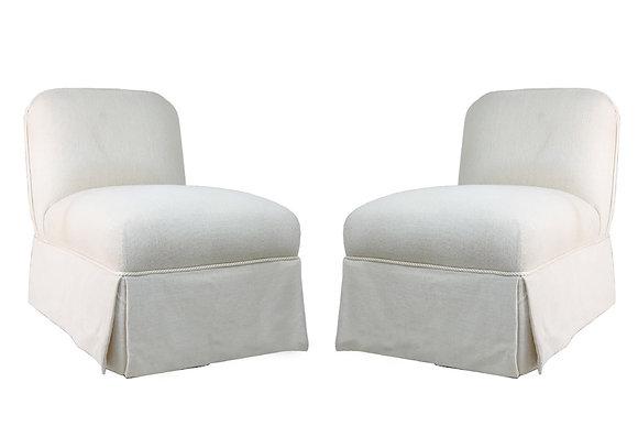 #1670 Pair of White Slipper Chairs