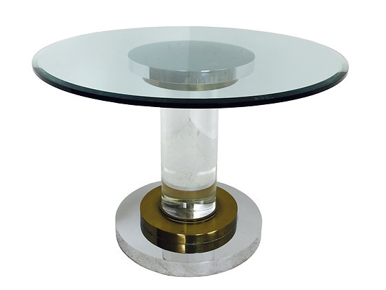 #2744 Romeo Rega Lucite Pedestal Dining Table w/Polished Chrome & Brass Accents