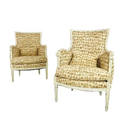 #5691 Pair of Louis XVI Style French Bergère Armchairs