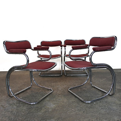 #6699 Set of Four Chrome Dining Chairs