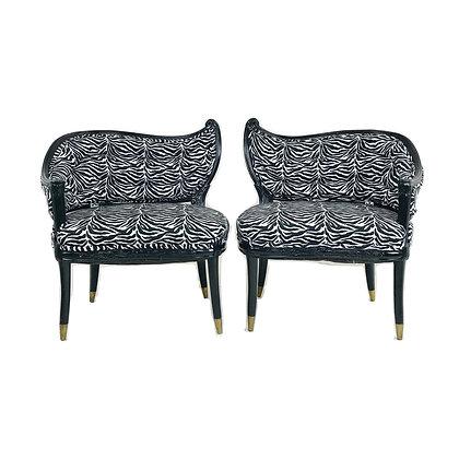 #4905 Pair Zebra Stripe Chairs