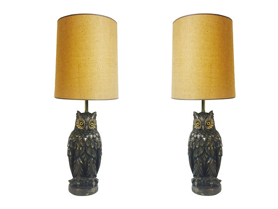 #2004 Pair Vintage Owl Lamps with Drum Shades