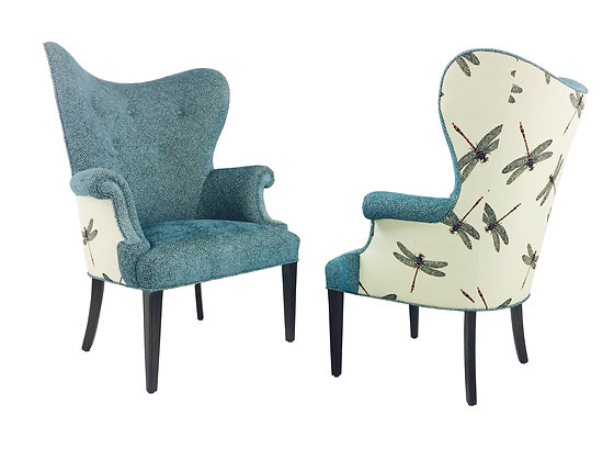 #2135 Pair ButterflyWing Chairs w/Red Dragonflies