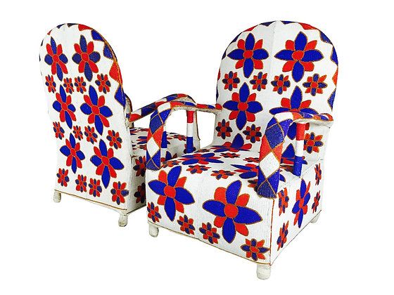 #3075 Pair of Red White & Blue Beaded African Chairs