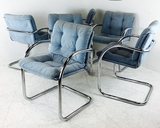 #2669 Set of 6 Chrome Cantilever Dining Chairs