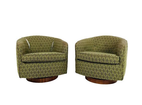 #5687 Pair of Milo Baughman Swivel Chairs
