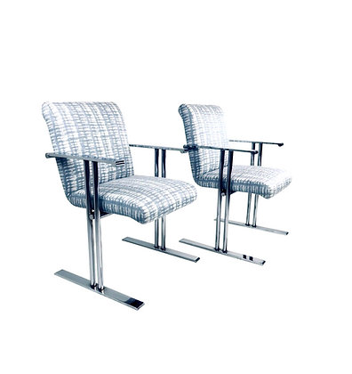#4705 Pair Chrome Armchairs by Directional
