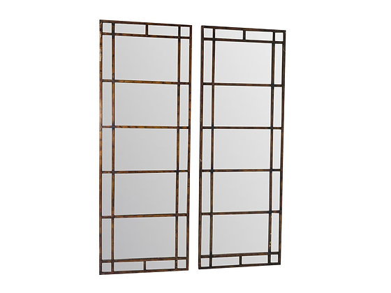#3275 Pair of Tall Antique Wood Paneled Mirrors