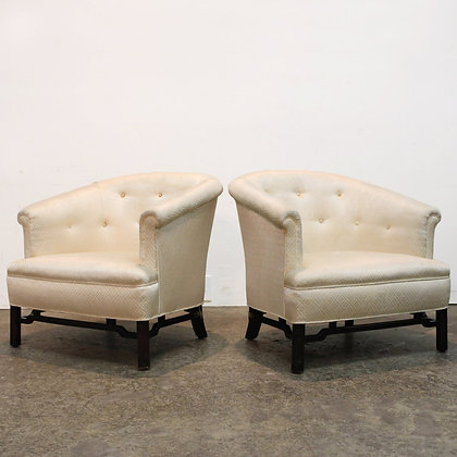 #7302 Pair White Upholstered Chairs