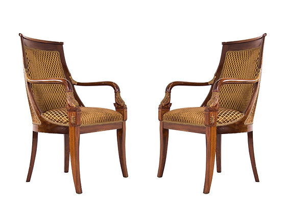 #3180 Pair Directoire Chairs w/Dolphin Armrests