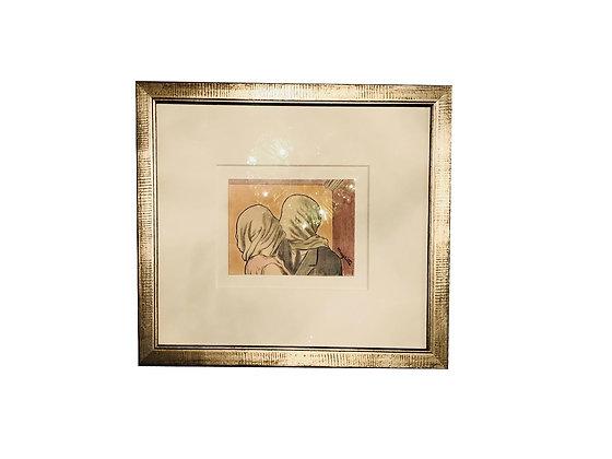 #3457 Blindfold Kissing Framed Art