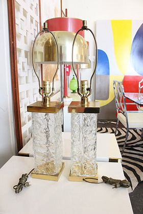 8632 Pair Texture Glass Lamps