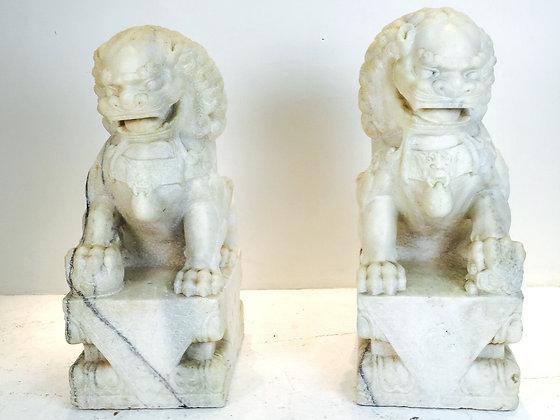 #2372 Pair Marble Foo Dogs