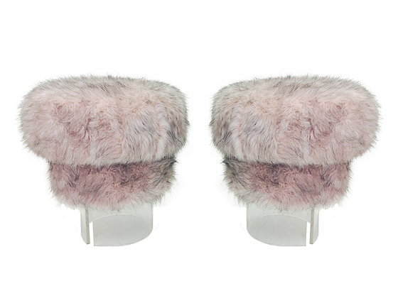 #2388 Pair Pink Fuzzy Lucite Stools