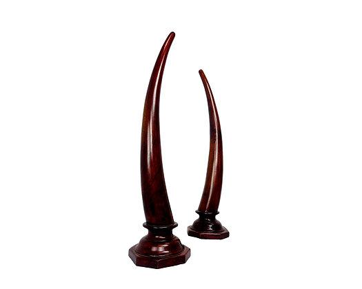 #5647 Pair of Carved Mahogany Tusks