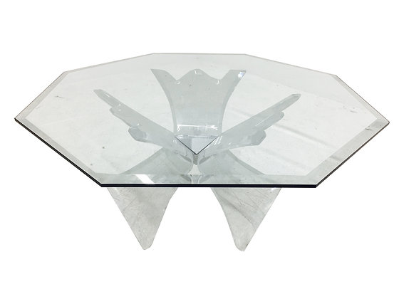 #2282-828 Triple Lucite Butterfly Coffee Table