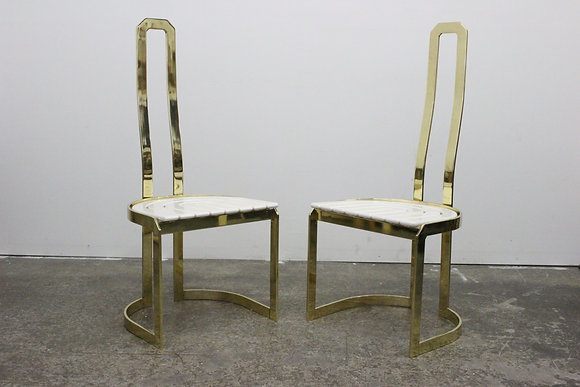 #8451 Pair Italian Brass Accent Chairs