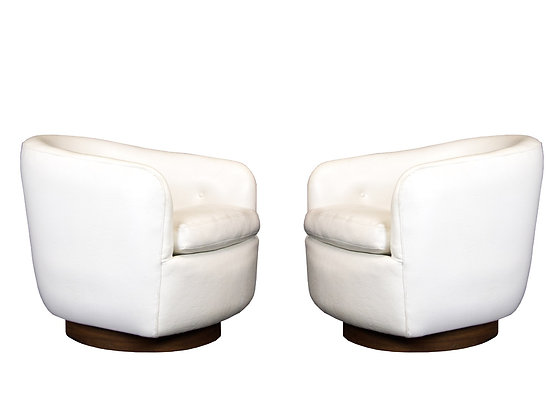 #3269 Pair of Milo Baughman Swivel Chairs in White Vinyl
