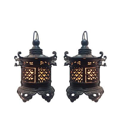 #2380 Pr Chinese Iron Lanterns Pendant Lights
