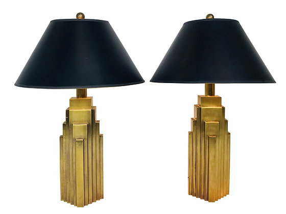 #3571 Pair of Brass Skyscraper Table Lamps by Chapman