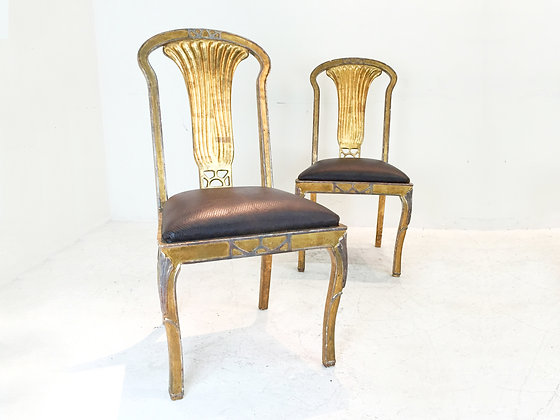 #1915 Pair Gold Leaf Italian Side Chairs