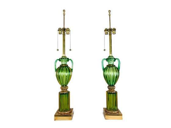 #4567 Pair Green Glass Murano Lamps