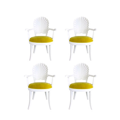 #5621 Set of 4 Venetian Grotto Shell Back Chairs
