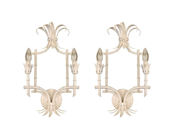 #3705 Pair Faux Bamboo Wall Sconces