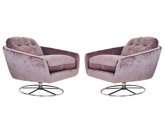 #925-769 Pair Low Swivel Chairs by Selig
