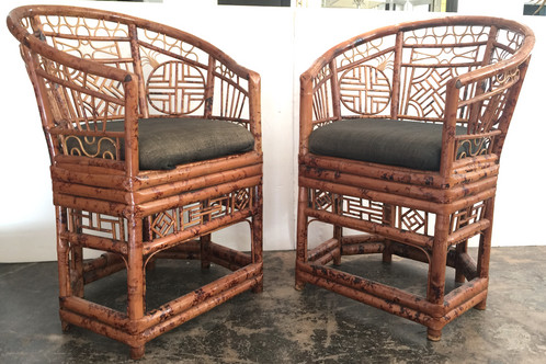 #1396 Pair Chippendale Tortoise Rattan Chairs