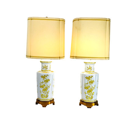 #5289 Pair of Yellow Chinoiserie Lamps