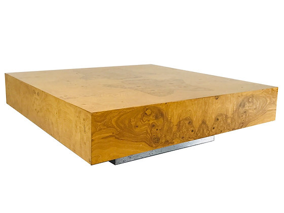 #3670 Burl Wood Coffee Table with Plinth Base