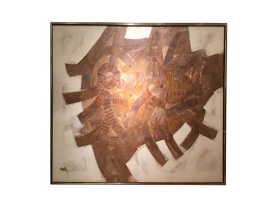 #3193 Abstract Brown & Cream Painting