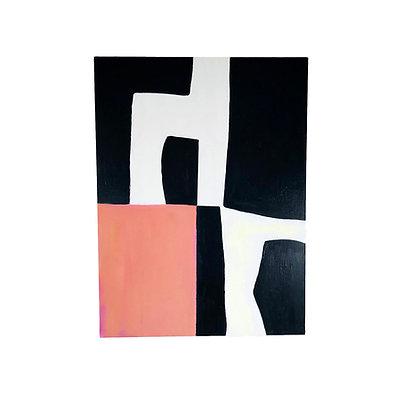 #5500 Pink & Black Modern Painting