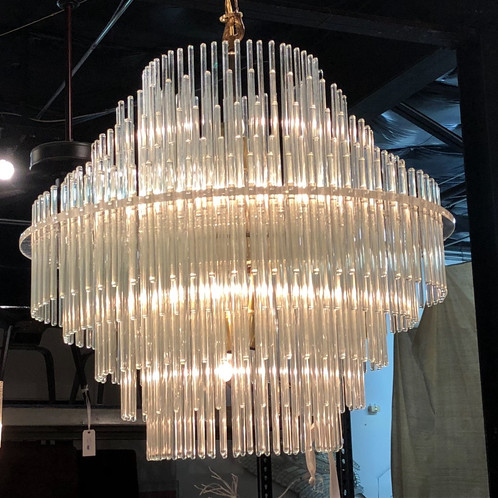 3342 five tier glass rod chandelier by sciolari for lightolier all sales are final no refunds audiocablefo