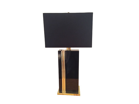 #3078 Brass & Black Lamp with Shade