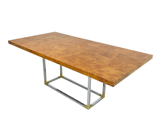 #3968 Burl Wood Dining Table with Brass & Chrome Accents by Jonathan Adler