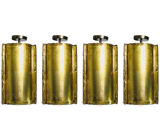 #2847 Single Brass Brutalist Tube Pendant (Four Pendants Available)